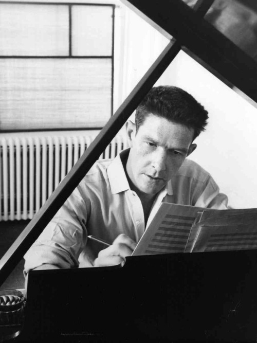 "loverofbeauty:  John Cage  composing ""Sonatas and Interludes"" c. 1947."