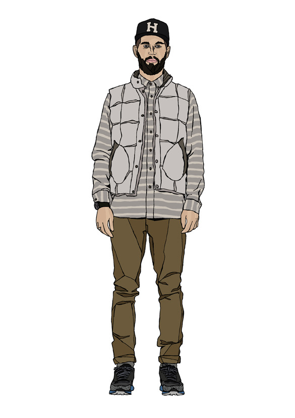 """UPHILL BATTLES""Mens lookbook illustation for huffer"
