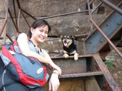 me with a dog at sigiriya (the rock!), sri lanka. i must add that every 50 metres in sri lanka, you'll definitely see a dog before you see a human.
