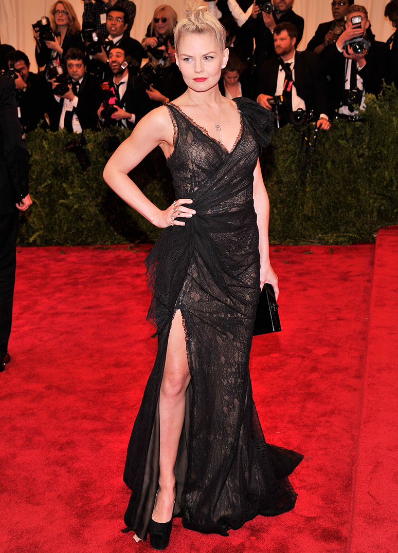 "JENNIFER MORRISON Actress Jennifer Morrison wears Donna Karan Atelier to the Costume Institue Gala for the ""PUNK: Chaos to Couture"" exhibition on May 6, 2013 at the Metropolitan Museum of Art in New York City. Credit: Stephen Lovekin/FilmMagic"