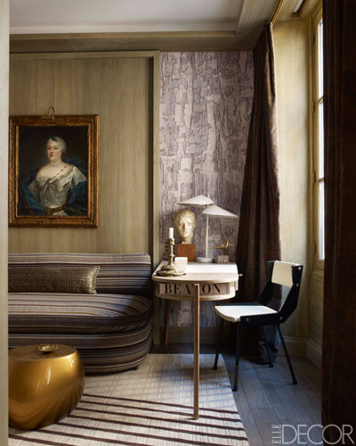 MORE METALLIC DECOR IDEAS  (photo via www.elledecor.com)