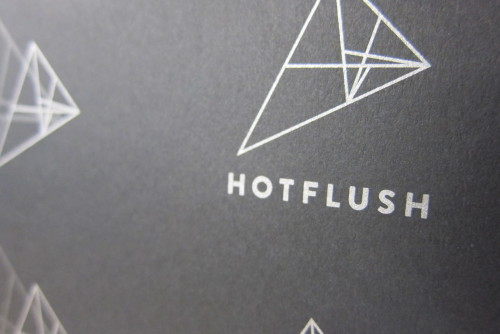 Sneak peek of metallic offset printing on matte black stock for dance label Hotflush Recordings