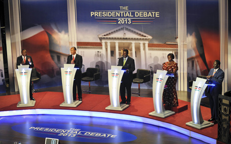 James Verini on the first-ever Presidential debate in Kenya, held last week, and Kenyan tribal politics: http://nyr.kr/UIT35V  Photograph: AP.