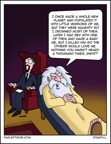 friendlyatheist:  helldal:  God & his psychologist  Sumarized versión of the last post.