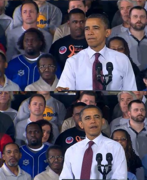 Man's Hair Looks Suspicious at Obama Speech  Change we can't believe in.