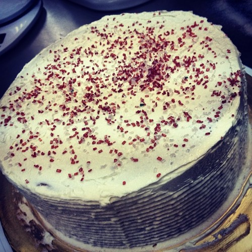 Butter cake disguised as a red velvet cake #ibakedthis