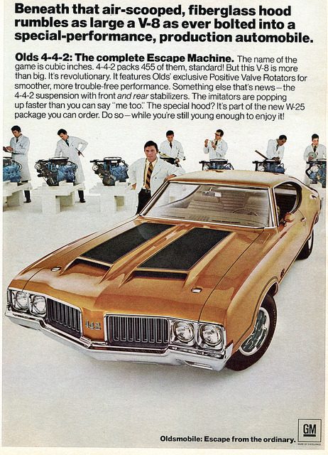 Oldsmobile Olds 442 445 - Hot Rod Advertisement January 1970 by SenseiAlan on Flickr.Oldsmobile Olds 442 445 - Hot Rod Advertisement January 1970