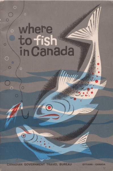 This is a fantastic illustration from the cover of an early 1960s Canadian fishing travel guide.  Sadly there's no artist credit but it was commissioned by the Canadian Government Travel Bureau, Ottawa and published by authority of The Honourable Mitchell Sharp, Minister of Trade and Commerce.Found via Delicious Industries.