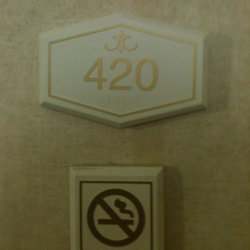 Our room number. I bet they're very strict on that no smoking rule when people stay in here.