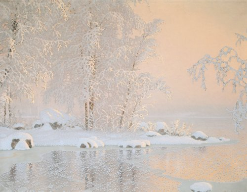 blastedheath:  Gustaf Fjaestad (Swedish, 1868-1948), Winter landscape with frozen lake, 1916. Canvas, 110 x 140 cm.