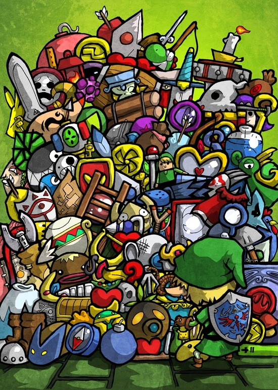 rockitraccoon:  The Legend of Zelda by David Betts. Haha Link's a hoarder!
