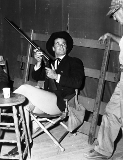 James Garner behind the scenes of Maverick