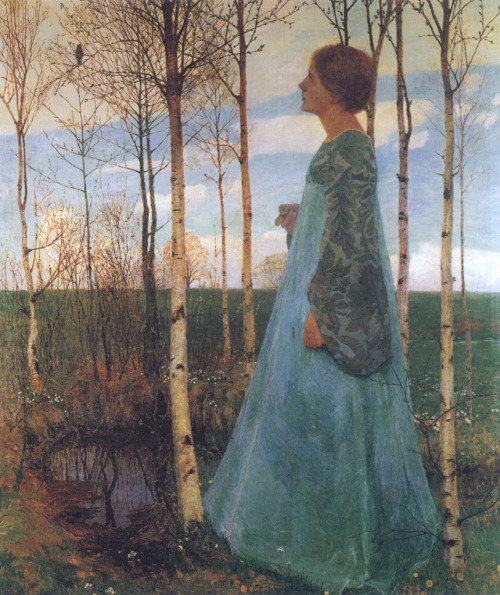 Springtime, Portrait of Martha Vogeler,Heinrich Vogeler
