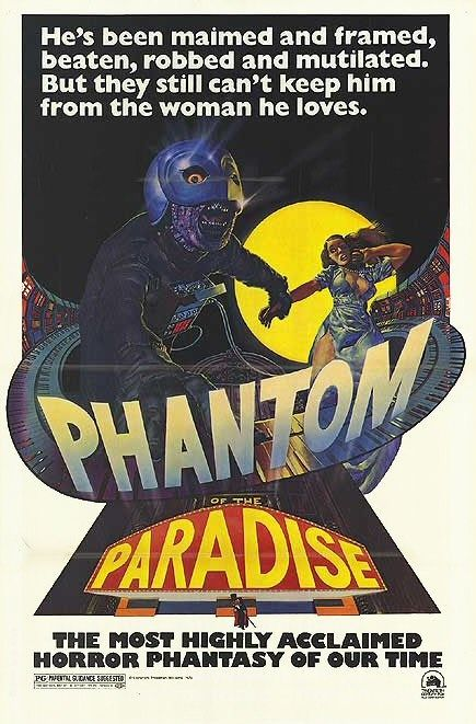 Great Richard Corben poster for 1974's still-underrated Phantom of the Paradise. According to Wikipedia, Neal Adams did the original design.