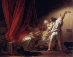 "Jean Honoré Fragonard (1732-1806), The Bolt, 1777, Musée du Louvre. ""As a pendant to The Adoration of the Shepherds, ""by a bizarre contrast"" Fragonard painted a picture ""free and full of passion"" (Lenoir, 1816), showing profane as opposed to sacred love. Its porcelain-like light effects illustrate the evolution of his work after he returned from his second trip to Italy in 1774."""