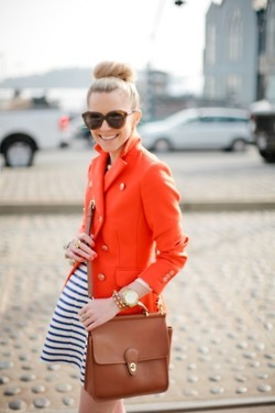 Love that Poppy Red Jacket theeverygirl:  on a stroll