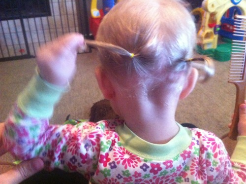 Getting used to her pigtails.