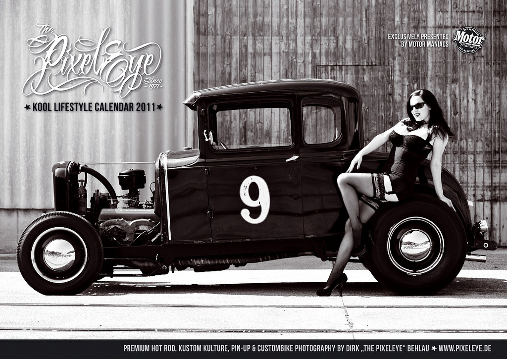 The Classic 1940's Hot Rod Pin Up shots I remember so well from those early copies of Hot Rod Magazine  that I managed to purchase, with great difficulty, here in England. Katja Cintja leans elegantly on the rear wheel.  From HERE