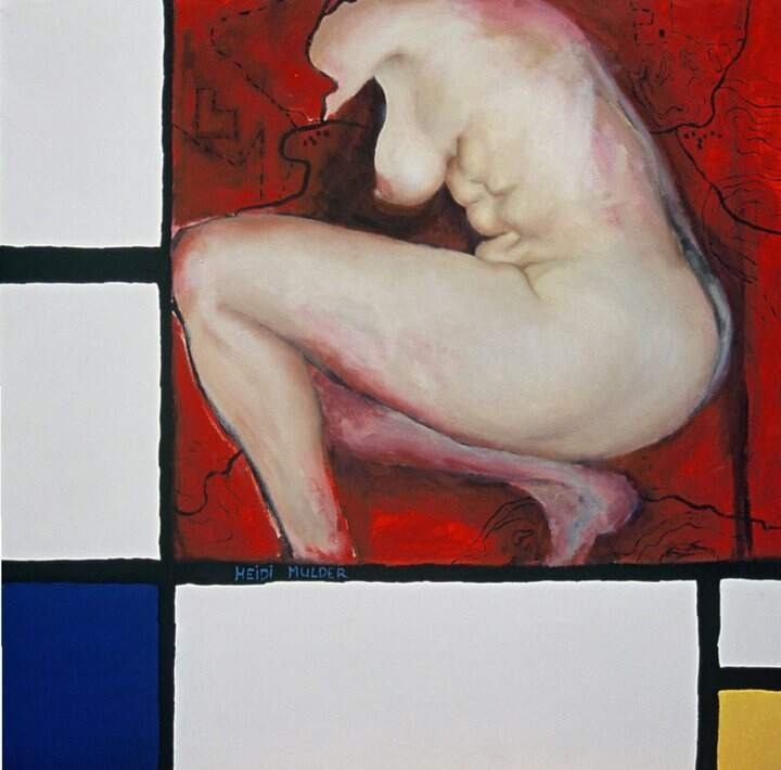 heidimulderartist:  Heidi Mulder Mondrian Nude 1 Oil and acrylic on canvas www.heidimulder.com The painting shows an interaction with Piet Mondrian's work. Composition in Red, Blue and Yellow. The artwork derives from chaos and a lack of order in my own mind and external life resulting in a need to pare back and simplify my world.