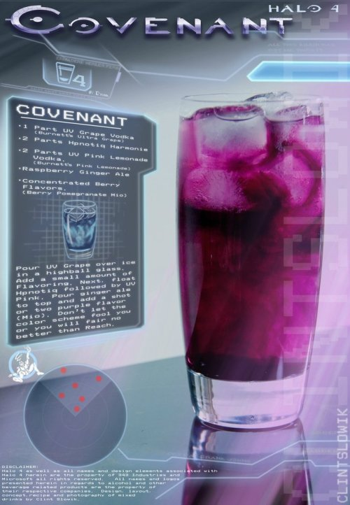 Covenant (Halo cocktail) Ingredients:1 part UV Grape Vodka2 parts Hpnotiq Harmonie2 parts UV Pink LemonadeRaspberry Ginger AleBerry Pomegranate Mio  Directions: Pour UV Grape over ice in a highball glass. Add a small amount of the Mio Berry Pomegranate flavoring. Next, float the Hpnotiq, followed by the UV Pink Lemonade. Fill to the top with the raspberry ginger ale and add a squirt or two more of the Mio flavoring.  Drink created and photographed by Clint Slowik.