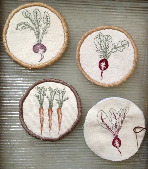 fuckyeahembroidery:  By understimulation  embroidering little vegetable badges! For sale soon at my etsy shop