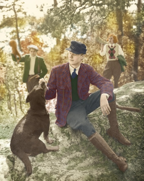 A hand colored photograph of a few members of Finland's vintage society, Fintage.   (It's from their calendar. Isn't it beautiful?)