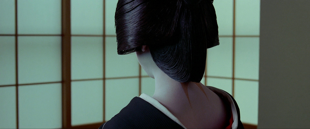 "Scene from the movie Samsara (by Makoto-san) ""Her eriashi (design on the nape) is so sensual"""