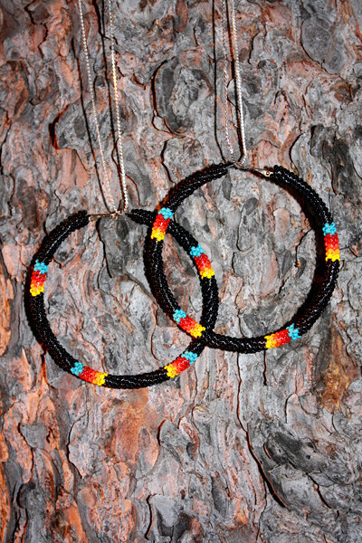 black beaded hoops, Eleumne (Ojibwe)