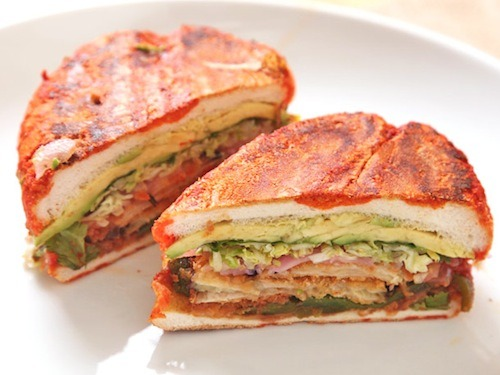 Vegan tortas and pambazos by J. Kenji Lopez-Alt of Serious Eats! I have been having the most stressful couple months—2013 is trying to kill me—and all I want is super-hearty, warm, filling food. And this glorious creation? All fried eggplant and avocado and saucy grilled bread? Is like the meal of my dreams. Come to me, sandwich.  [Photo by J. Kenji Lopez-Alt]