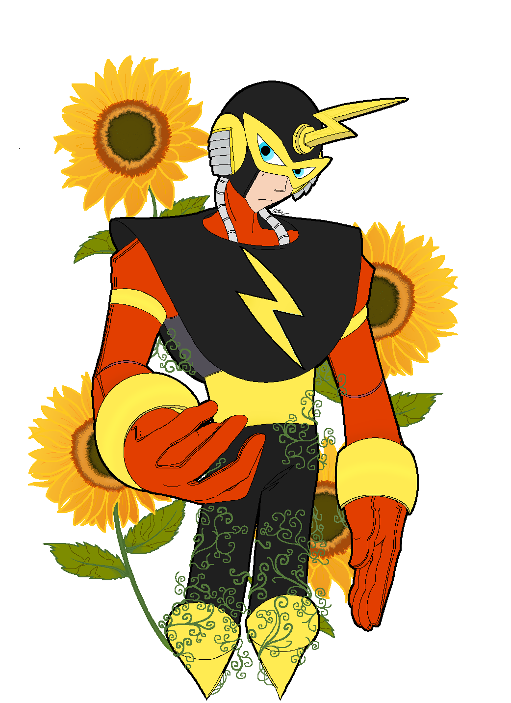 "ElecMan with the sunflower plant. Request for ""Anonymous"". #myart#elecman #artists on tumblr #fanart#game fanart#videogame fanart#megaman#classic megaman#robot#robot master#vines#plant#plants#flower#flowers#sunflower#pixels#pixel#pixelart#pixel art#pixel illustration#anime#manga#helianthus#helianthus annuus"