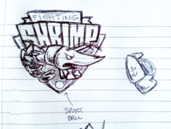 bejbunch:  fighting #shrimp generic sports logo sketch  A Backyard-Sportesque logo I scribbled for our Daily Draw blog. Don't know how to post to multiple tumblrs with one post.