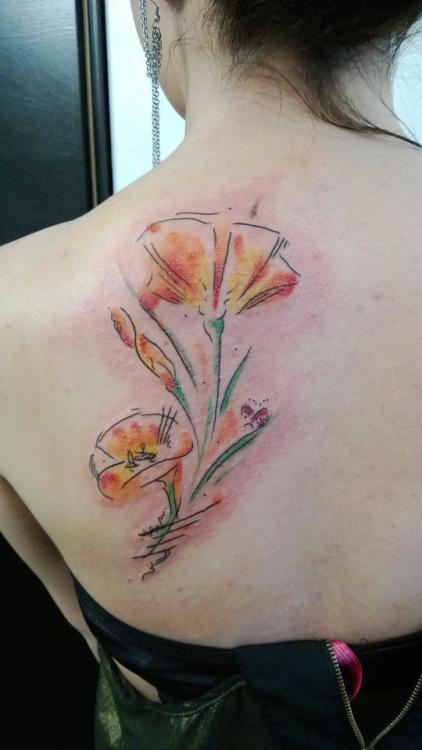 "By Jes Ashby at White Rabbit Tattoo in the East Village, NYC. ""Be not a poppy. For all of their beauty, they bear no scent to their name."" But I was, and I am."