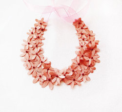 Pink Flower Collar Necklace