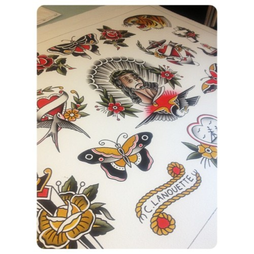 #traditionaltattooflash #tattoo #tattooflash #watercolor #montreal #tatouageroyal