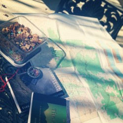 Trail mix and trail planning on a warm day in LA.