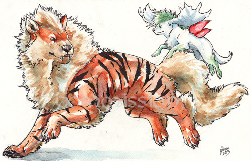 Commission: Arcanine and Shaymin by *ShadeofShinon