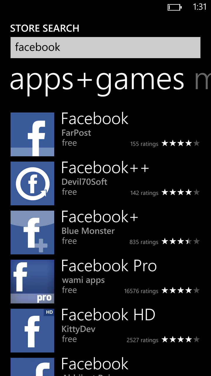 "stevekovach:  What it looks like when you search ""Facebook"" in the Windows Phone app store.  Facebook's Official app is nowhere to be seen."