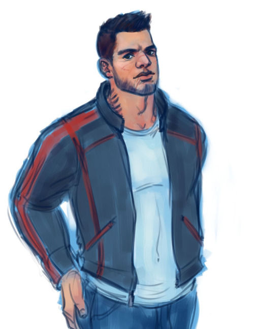 stonelions:  James in a leather jacket. That I forgot to put the N7 on fffffff o well