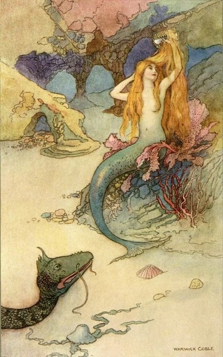 "rabbitskittensandlambs:  "" The Mermaid and the Dragon "" by"" The Mermaid and the Dragon "" by Warwick Goble"