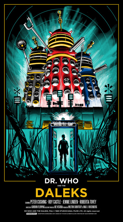 "Poster Per Diem: Tim Doyle's Dr. Who and the Daleks Movie Poster  I've long-known about the 1992 Dr. Who made-for-television movie, but I had no idea there was a 1965 feature-length theatrical film. How did I discover this bit of priceless information, you ask? (Alright, alright, ""priceless"" is clearly going too far.) Why, Tim Doyle's wonderful poster, of course. Doyle's lovely design rightly deifies our Dalek overlords, bathing them in the buzzing light of stardom, while slyly introducing a mysterious Peter Cushing as the titular Dr. Who. It's an awesome little print that, understandably, sold out online in no time at all.   Click here to read more 