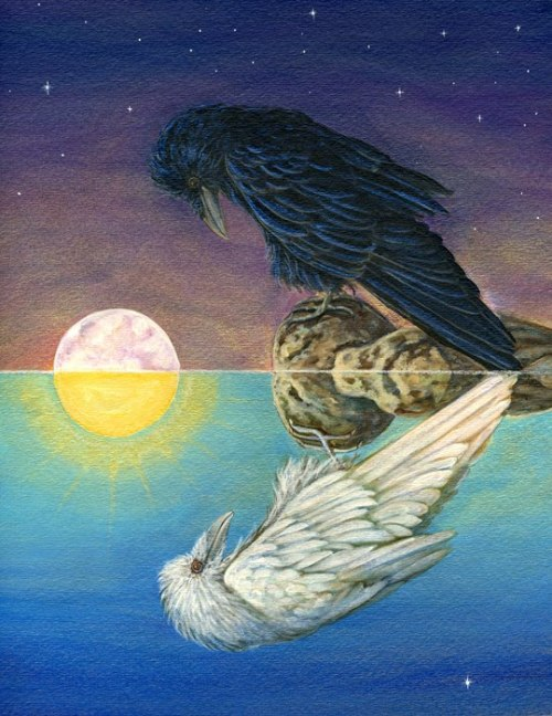 "itmovesmemorelol:  ""Raven Reflection""Cathy McClelland Fine Art ☽✪☾ Youth/Father/Geezer☽✪☾"