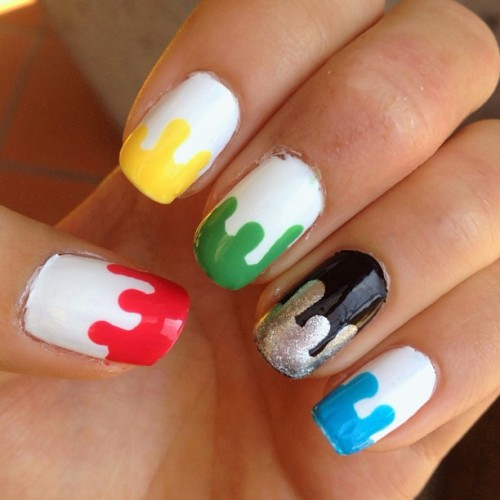 NOTW - Nails of the week 💅 #paintdrips #mani #nailpolish #nailart #nails #rainbow #colorful #essie #opi #nofilter