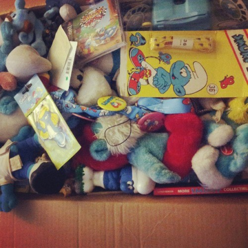 It's my Smurfs in a box. My Smurfs in a box, girl. #smurfs