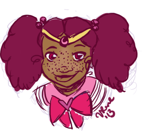 [Image description: an illustration of a Black, freckled Chibiusa. Her hair is purple and up in fluffy pigtails.]  rebelion-silenciosa:  vanessadrawsthings:  another mini-moon ;) still in the process of finalizing her palette. children are hard to draw :x a b Photoshop.  !!!!!!!!!!!!!!!!!!!!!!!!!!!!!!!!!!!