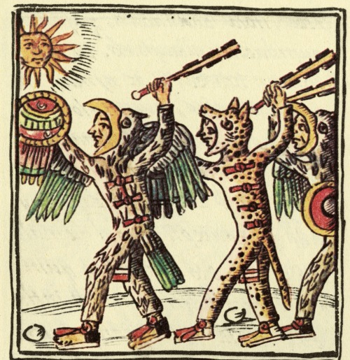 guaila:  Aztec warriors brandishing macuahuitls, Florentine Codex (16th century)
