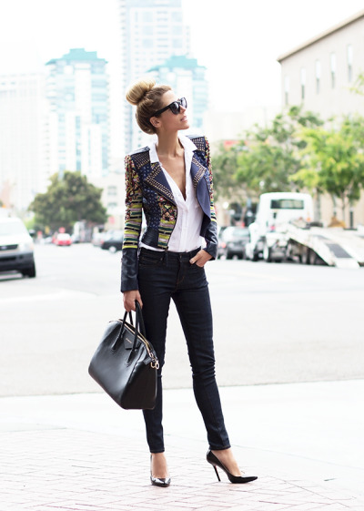 what-do-i-wear:  Sunglasses - Celine, Novak Jacket - BCBG, Blouse - Bella Dahl, Denim - A.N.D., Bag - Givenchy, Pumps - Christian Louboutin (image: thenativefox)