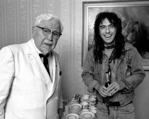 retrogirly submitted: Colonel Sanders and Alice Cooper hang out. I hope this continues…