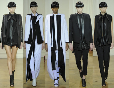 coco-lagerfeld:  RAD HOURANI SPRING 2013 COUTURE  ANDROGYNY AT ITS BEST. The Jordan designer's debut in the haute couture scene was a pure homage to his unisex aesthetic. Using only black and white, he presented geometrical looks, layered pieces, razor-sharp tailoring, and modern coats.  It was a celebration of the Rad-clientele. Biker-chic, androgynous models were sent down the runway in his trademark structural and layered pieces. The collection was a modern approach to couture, sans the embellishments and expensive yards of fabric. Thank good fashion heavens there's Hourani and Margiela to kill the boredom exuded by billions of beads, swarovskis, and diamonds every couture season!!                       WERQQQ!!!