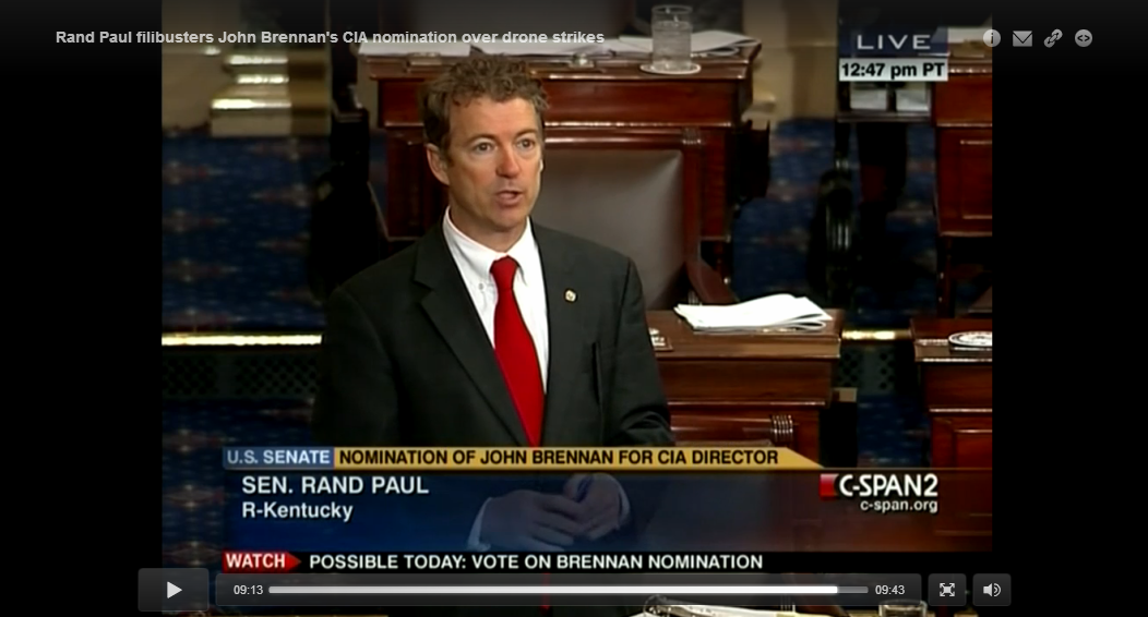 Rand Paul pulls plug on nearly 13-hour filibuster on drones Kentucky Sen. Rand Paul staged the longest talking filibuster in recent Senate memory from Wednesday into early Thursday, railing with his colleagues for more than 12 hours against what they called the danger of drone strikes to U.S. citizens on American soil. In seizing control of the Senate, a bloc of conservatives led by the libertarian Paul successfully pushed a potential vote to confirm President Barack Obama's nominee to run the CIA off the day's agenda. Continue Reading Be sure and check out my next post CLICK HERE in honor of Rand Paul's efforts.    Mike Lee joins filibuster     Paul invokes Hitler during filibuster    Paul began speaking at 11:47 a.m. on Wednesday and finally yielded the floor at about 12:39 a.m. Thursday, Read more: http://www.politico.com/story/2013/03/rand-paul-filibuster-john-brennan-cia-nominee-88507.html#ixzz2MpmaN72V . . . #Disturbing #Politically Correct #Stranger than Fiction #video . .  ☆☆☆ PERMALINK ☆☆☆   ☆☆☆ HOME ☆☆☆