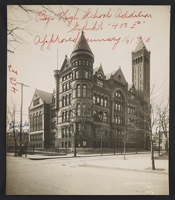 C.B.J. Snyder Schools, a set on Flickr. Via Flickr: From 1891 until his retirement in 1923, Charles B.J. (C.B.J.) Snyder served as the Superintendent of School Buildings for New York City's Board of Education. During his tenure, Snyder designed and oversaw the construction of and additions to over 400 public schools throughout New York City. Inspired by the social reform movements of the late 19th and early 20th centuries, he incorporated elements from a variety of architectural styles, including Beaux-Arts, Flemish Renaissance, Italian Palazzo, and Collegiate Gothic. Snyder's schools are notable for their grand architectural designs and innovative features. He implemented physical and material changes that focused on the health and safety of students, creating standards for school furniture, adequate light and air, safe construction materials, and indoor plumbing. Beyond merely classrooms, Snyder's schools often included laboratories, gymnasiums, swimming pools, and auditoriums that could be used by the surrounding community, as well as public art. Though not all continue to function as public schools, 20 C.B.J. Snyder buildings have been designated New York City Landmarks as of May 2014. The Art Commission reviewed over 200 C.B.J. Snyder schools between 1902 and 1922. The renderings, architectural drawings, and photographs in this set are examples of these submissions. This photo album was digitized and prepared by archives intern Alexandra Giffen, a graduate student in the Archives and Public History program in the New York University Graduate School of Arts and Science.  For research inquiries, please visit the Design Commission's website and submit a Research Request form.